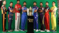 Captains posing with Vivo IPL 2018 trophy